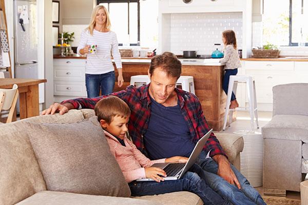 Family in family room